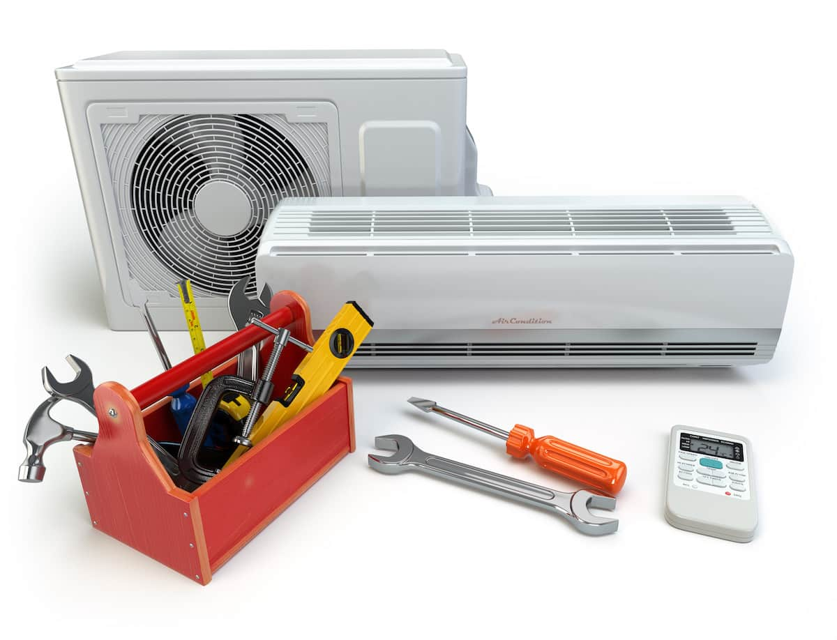 Air conditioner with toolbox and tools.